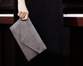 Small bag grey Clutch bag Grey envelope clutch Small crossbody bag Vegan purse clutch Bridesmaids clutches Bridal clutch Grey vegan handbag