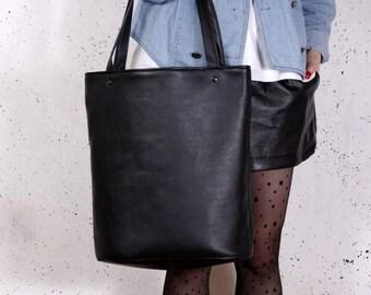 Black tote bag Shopper bag Vegan bag Black shoulder bag Vegan leather bag Laptop bag Market bag Vegan gift for women wholesale handmade bags