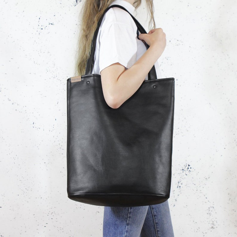 Black tote bag Shopper bag Vegan bag Black shoulder bag Vegan  6214053e822da