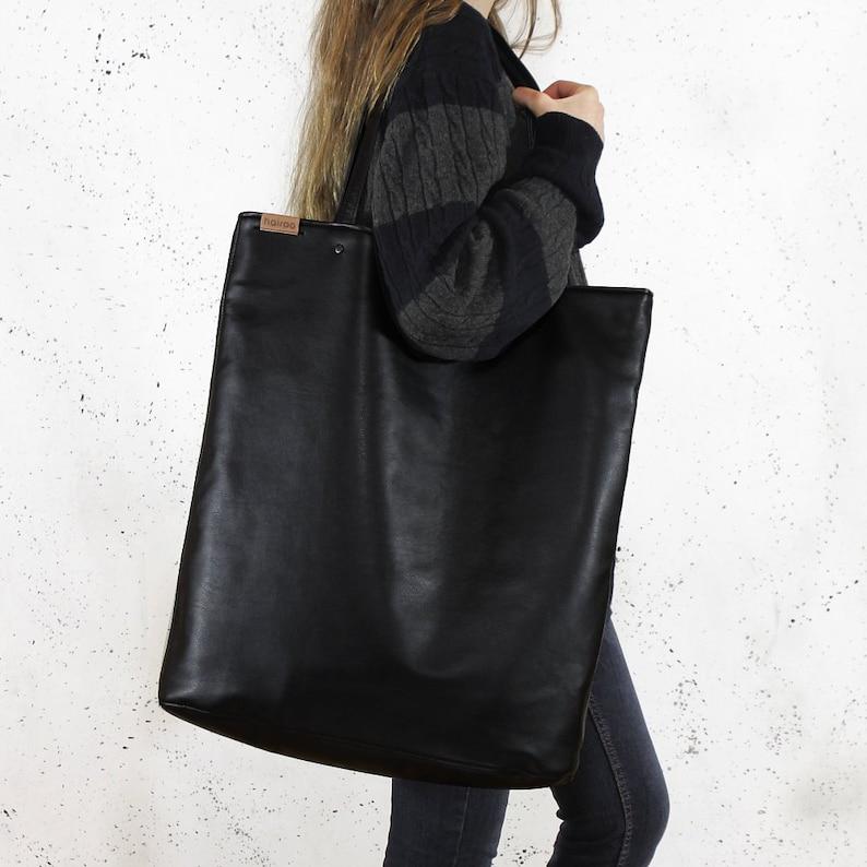 f9289e001d82 Mega Shopper bag black tote bag shoulder oversized extra large big school  laptop market everyday vegan eco faux leather pockets zipper gift