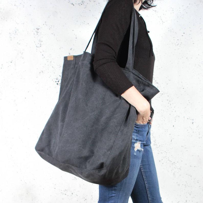 8ef286b2896ec Bardzo duża torba XXL czarna miejska torba gruba bawełna na