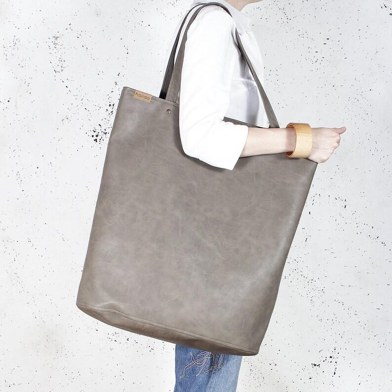 1a15482e Mega Shopper bag brown tan blazed tote shoulder oversized extra large  school laptop market everyday vegan faux leather pockets zipper gift