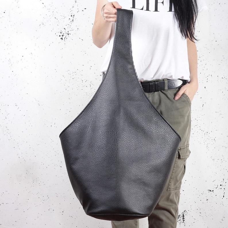 f67ce5fc062a Hobo bag black vegan leather bag Vegan gift for her Shoulder