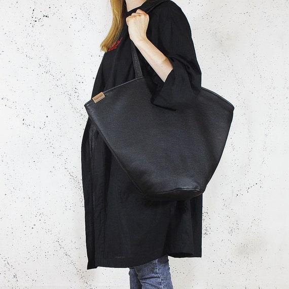 Vegan Secchiello Nero Regalo Borsa Di Zip Alta Minimal Bag Tote A Semplice Nera Ecopelle Qualità Per Tracolla Nnwm0v8OPy