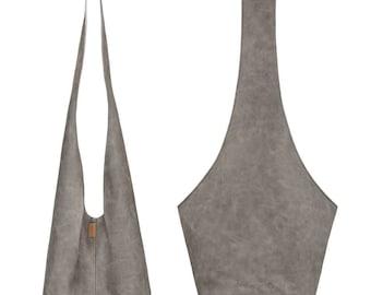 Grey weekender bag Grey vegan leather bag Vegan crossbody bag Festival bag Large handbag Wholesale boho 30th birthday gift Grey hobo bag