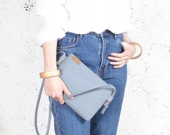 Nodo bag S Clutch bag blue vegan bag polyester with cotton handbag shoulder strap pocket zipped wedding purse bridesmaid bridal evening gift