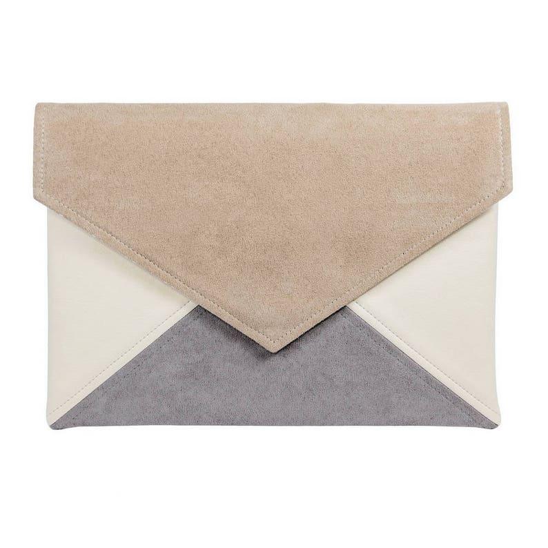 Clutch bag envelope beige gray ivory vegan leather bag faux image 0