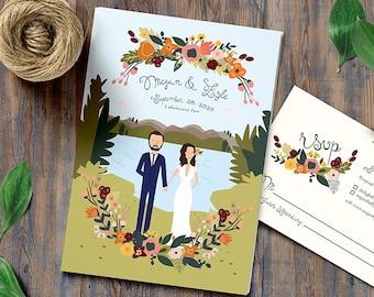 Autumn and Fall Lake Wedding Invitations // Custom Background // Illustrated Couples Portrait // Illustrated Family Portrait