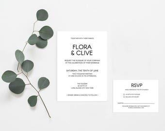 DIY Wedding Invitation // Modern and Contemporary Wedding Invitation Suite // Printable Wedding Invites // Editable PDF Template