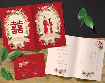 Traditional Chinese Wedding Invitation Family Portrait Etsy