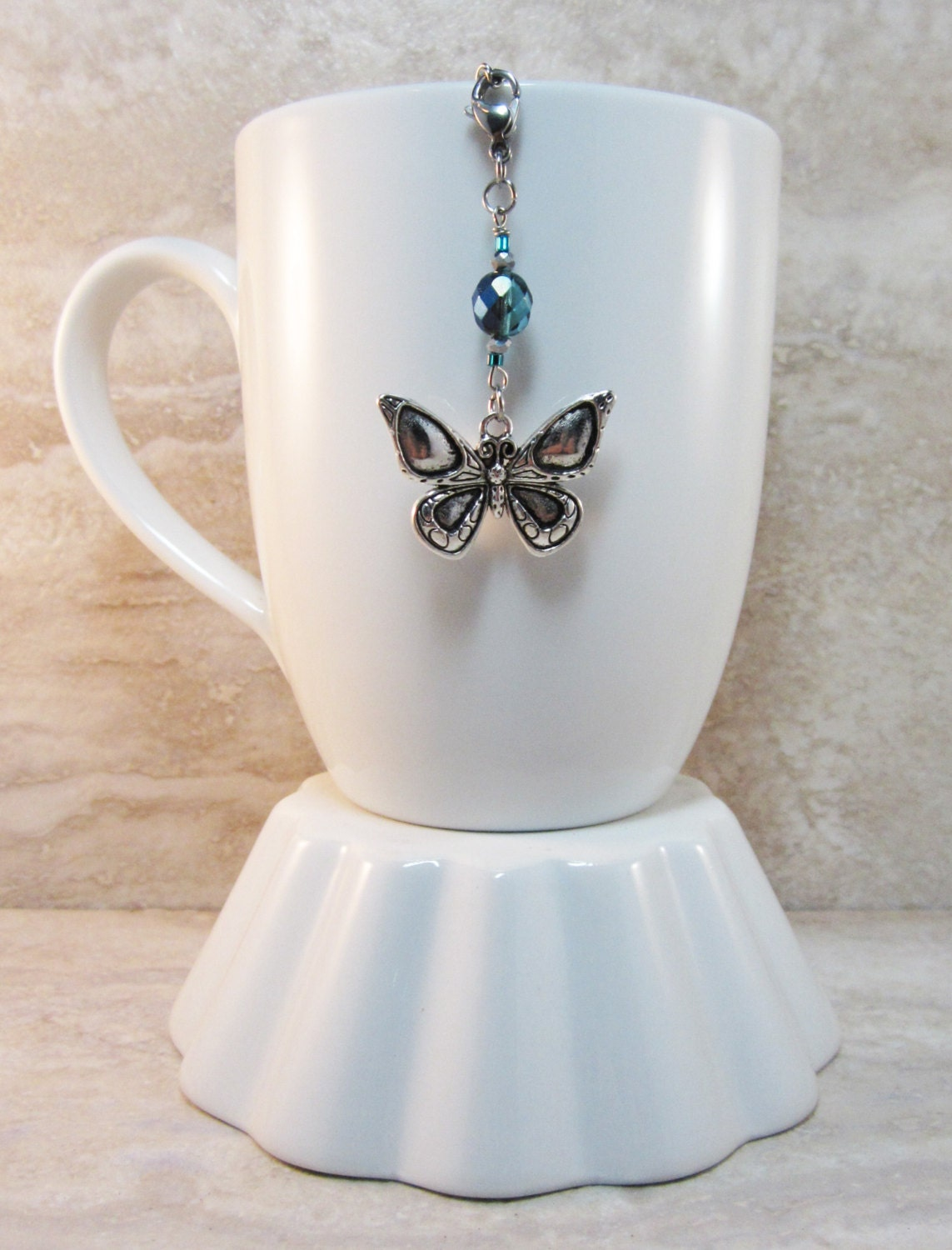 Adorable Butterfly Tea Infuser Charm-Antique Silver Finish Butterfly-Czech  Teal AB Bead-Silver Glass Bead-Tea Party-Love Bugs Collection