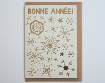bonne anne snowflakes and stars french new year card recycled paper with gold foil