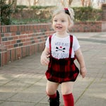 Buffalo Plaid Bloomers with straps - Baby Girl Clothes - Newborn Photography - Handmade - Made to order - Bloomeralls