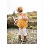 Boho Ruffle Romper - Mustard Lace Romper - Bohemian Baby Clothes - Newborn Photography - Baby Girl Clothes - Sunsuit - Handmade