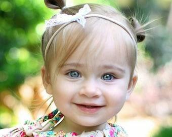 Lace mini bow headband - Baby headband - Girls headband - Baby shower gift - Lace bow