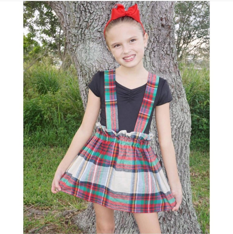 Plaid skirt with straps  Holiday skirt  American Plaid  image 0