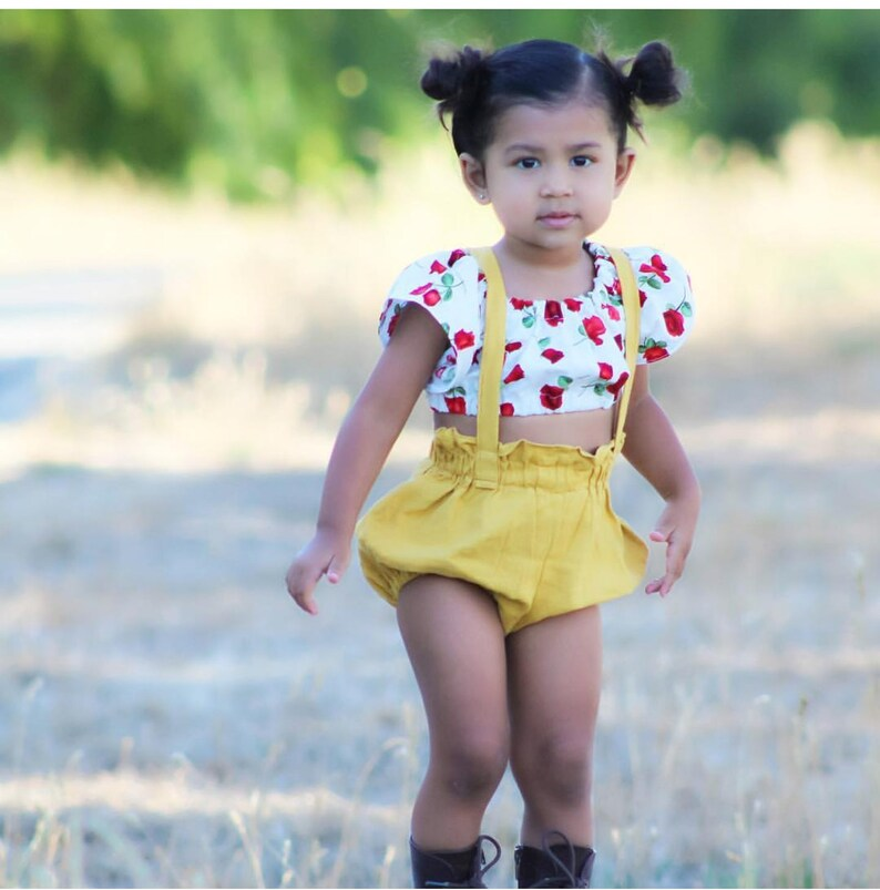 Linen Bloomers with straps  Boho Baby Romper  Mustard  Baby image 0