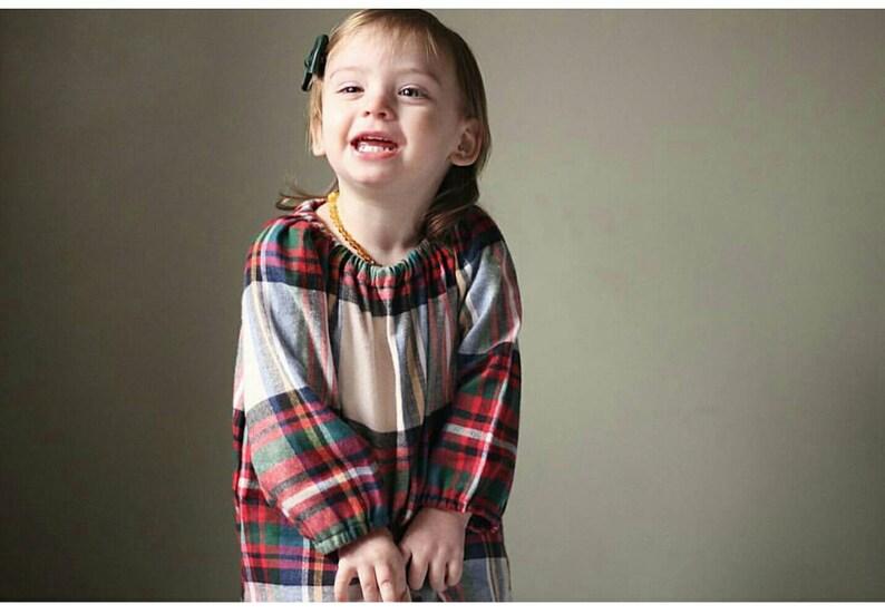 Plaid peasant dress  cotton toddler dress   flannel dress  image 0