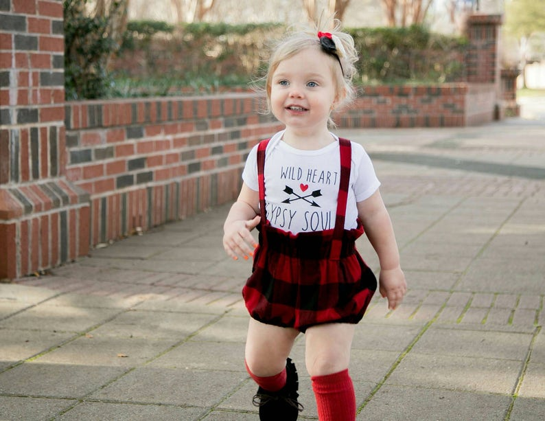 Buffalo Plaid Bloomers with straps  Baby Girl Clothes  image 0