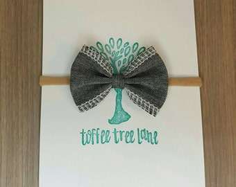 Petite bow headband - Toddler headband - Girls headband - Hair accessory - Chambray mini bow headband - Baby shower gift