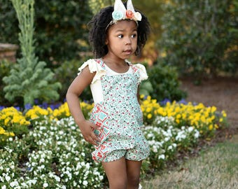Boho romper - Mint Rose Romper - Bubble Romper -Bohemian sunsuit - handmade - made to order - Baby Girl Clothes - Toddler girl birthday