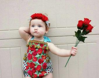 Retro rose romper - Vintage trim - Baby Clothes - Bohemian sunsuit - handmade - made to order - birthday - Tassle romper - Betty