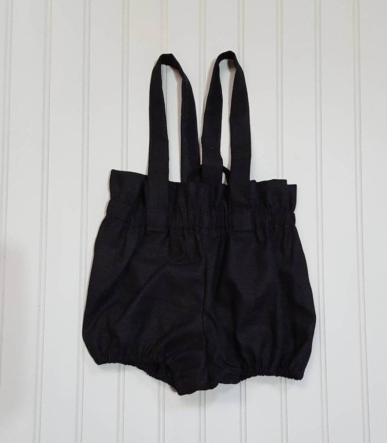 Linen Bloomers with straps  Boho Baby Romper  Black  Baby image 0