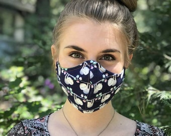 Cloth Face Mask Washable Made in USA - Fabric Mask Filter Pocket Nose Wire - Cloth Face Covering - Adult Teen Child Toddler Masks -