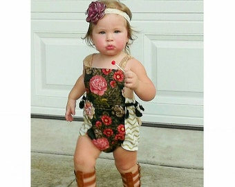 Boho romper - Rose Romper - Bohemian sunsuit - handmade - made to order - Baby Girl Clothes - birthday - Gold romper - Audrey