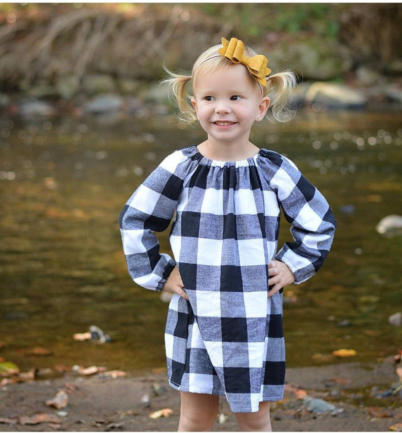 White Buffalo Plaid dress  Girl's winter dress  toddler image 0