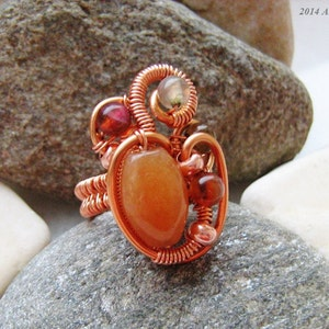 Freeform Statement Ring Red Aventurine /& Agate Ring Wire Wrapped Handmade Jewelry Ring US Size 5.25 Gemstone Copper Ring Womens Gift Idea