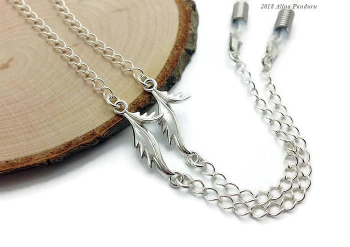 925 cadena de gafas de plata de ley collar de gafas de lujo