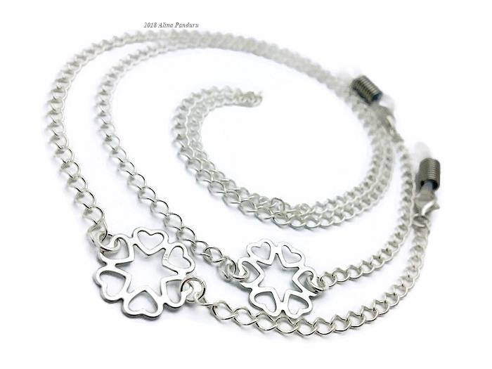 Silver Glasses Chain for Women Silver Flower Eye Glasses