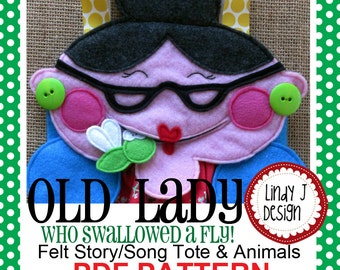 There Was an Old Lady Who Swallowed A Fly FELT Story Tote Playset PDF PATTERN