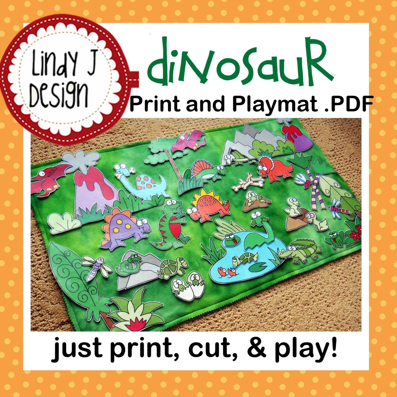 DINOSAUR Land Print and Play Mat playmat .PDF PATTERN   Etsy