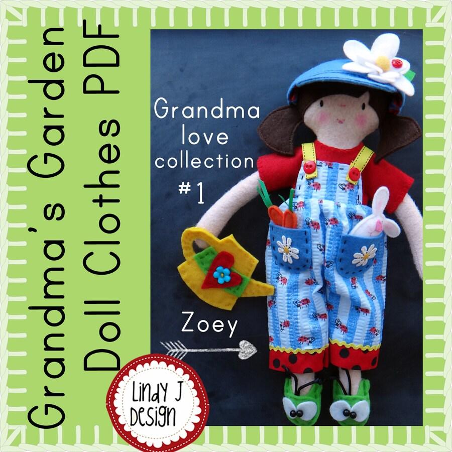Felt DOLL Clothes Sewing PDF PATTERN Grandmas Garden Clothes   Etsy