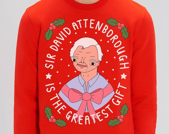 Featured listing image: Luxury Organic Eco-friendly Attenborough Christmas Jumper