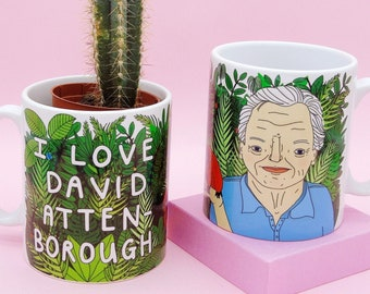 Sir David Attenborough Ceramic Mug |  'I love David Attenborough'