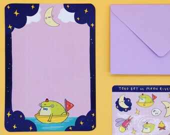 Cute Toad Writing Paper Set with Stickers and Lilac Envelopes | 'Toad Boy on Moon River'