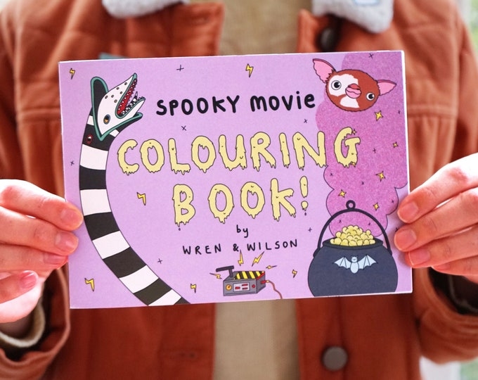 Featured listing image: Spooky Movie Colouring Book | A5 landscape