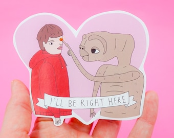 E.T and Elliot gloss paper sticker // 80's movies pop-culture large laptop sticker.