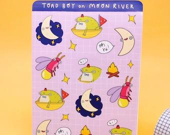 Cute Toad Sticker Sheet A6 | Autumn Moon River Design