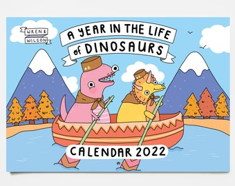 2022 Dinosaur Wall Calendar - A Year in the Life of Dinosaurs  | Colourful Monthly Calendar