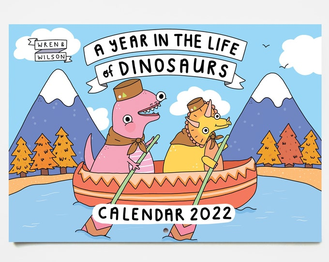 Featured listing image: 2022 Dinosaur Wall Calendar - A Year in the Life of Dinosaurs  | Colourful Monthly Calendar