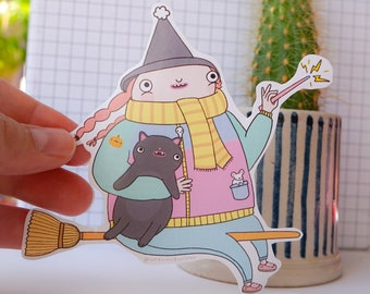 Cosy Witch Large Gloss Paper Sticker