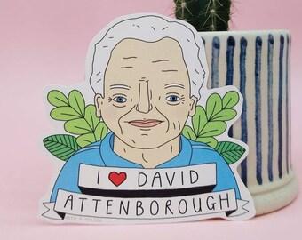 Sir David Attenborough Sticker // Gloss Paper Laptop Sticker