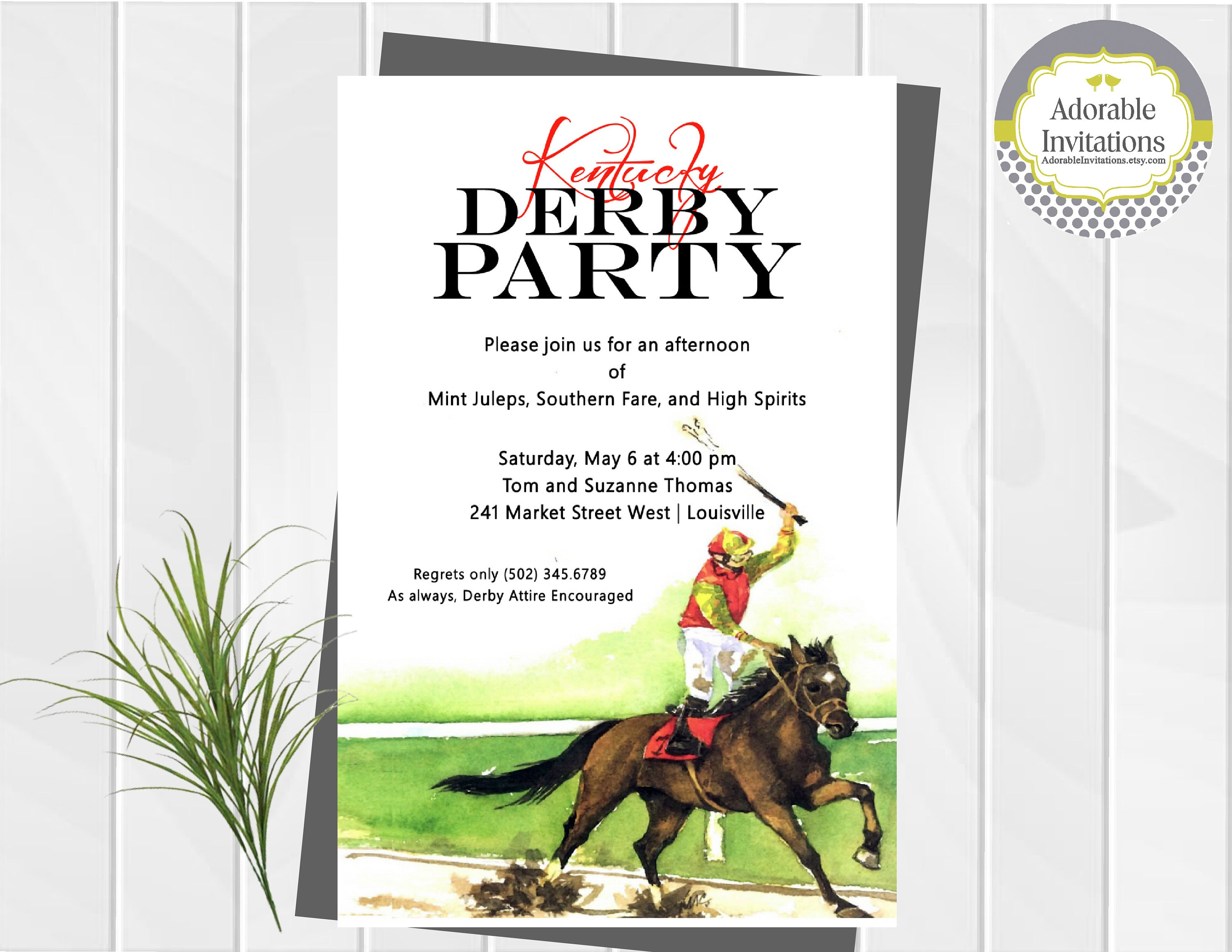 Kentucky Derby Party Invitation Run For The Roses Etsy