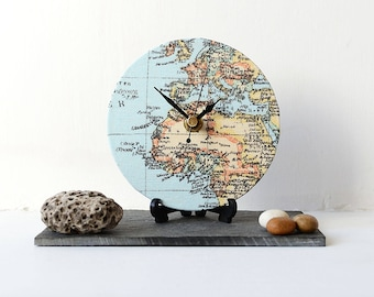 Globe wall clock etsy map desk clock decoupage fabric map clock map round desk clock europe north africa map desk clock gumiabroncs Image collections