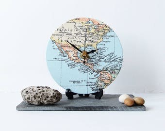 Globe wall clock etsy map desk clock decoupage fabric map clock map rounddesk clock north america usa mexico central america map desk clock gumiabroncs Image collections