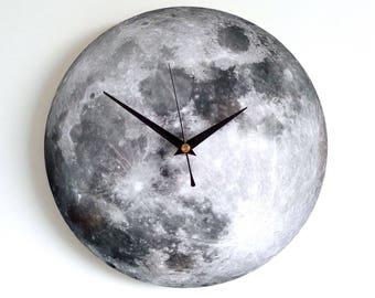 Moon Wall Clock - Decoupage Photo Clock - Space Clock - Black and White Clock - Astronomy Clock - Luna Clock